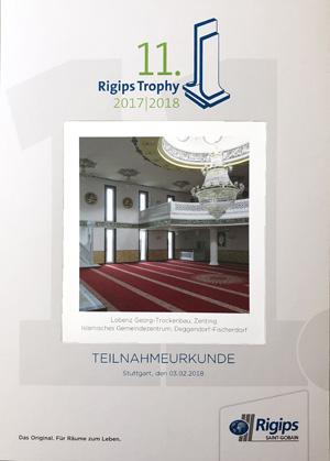 Urkunde Rigips Logo Lobenz Trockenbau + Innenausbau in Zenting | Raum Passau